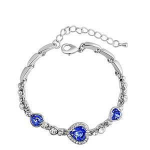 Ocean Heart Crystal Silver Bracele